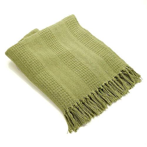 Green 60x 50 SERRV Rethread Throw Blanket Lightweight Soft Sofa Couch Decorative Knitted Blanket