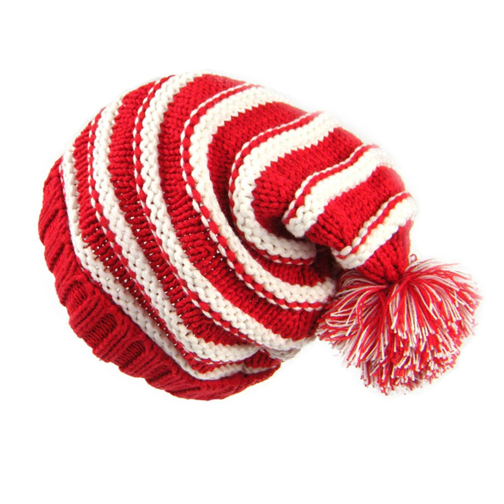 Beanie Pompom Hat Kids Baby Boys Girl Boys Autumn Winter Stripe Ski Knitted Cap