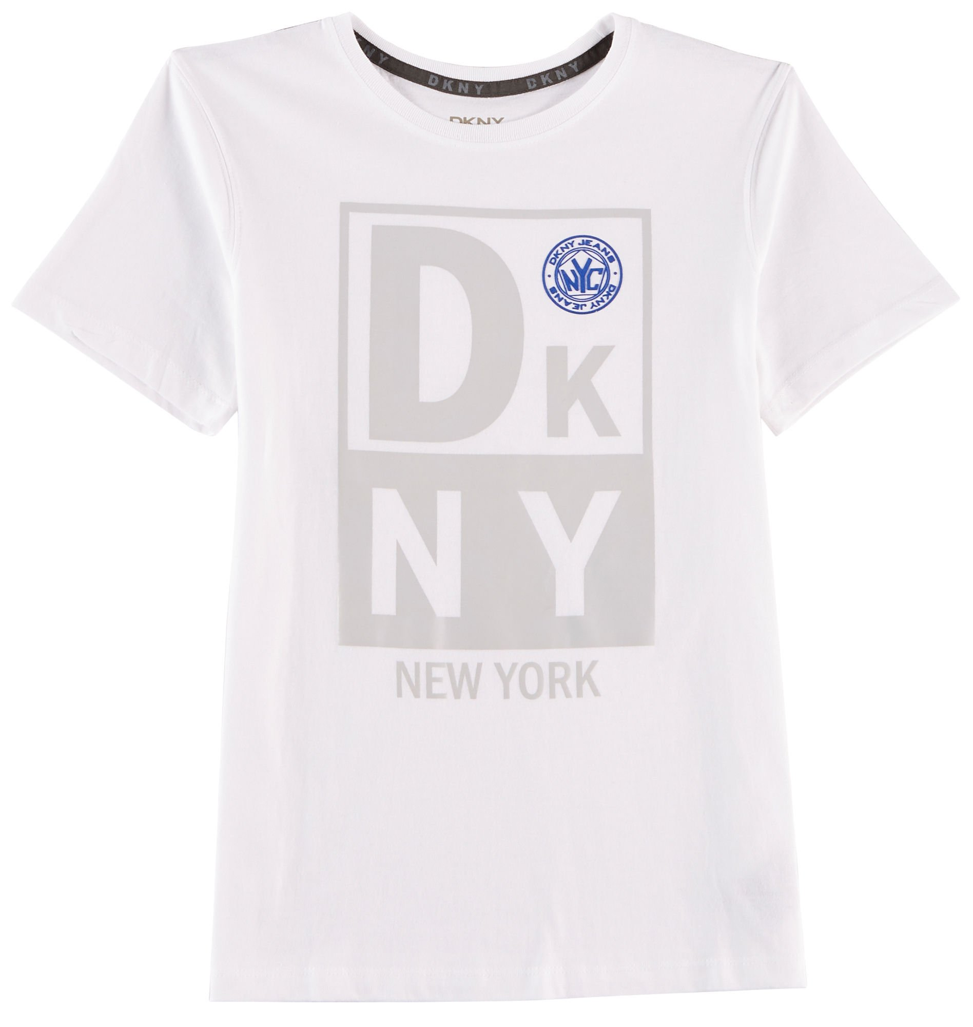 DKNY Boys' Big Short Sleeve T-Shirt, White Heather-KCKB, 8