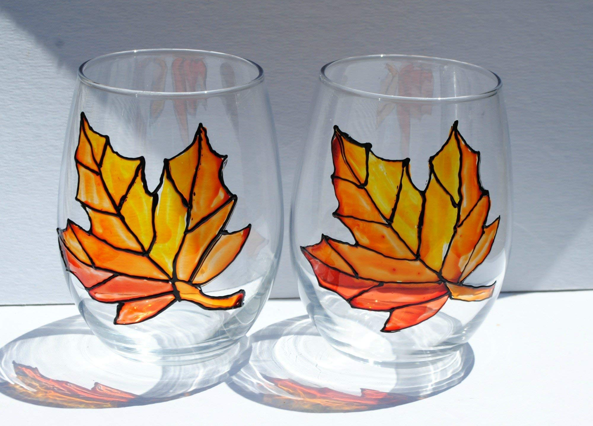 Orange Autumn Maple Leaf Hand Painted (Set of 2) Stemless Wine Glasses Fall Home Décor