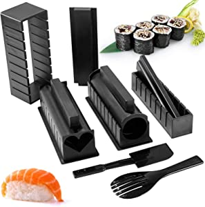 Sushi Making Kit for Beginners All-In-One Plastic Sushi Kit 10Pcs Come with 8 Sushi Rice Roll Mold Shapes, Rice Fork and Spatula DIY Home Sushi Maker Tools (Black)