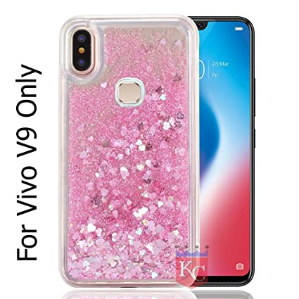 wholesale dealer 415e2 52488 KC Liquid Unique Floating Hearts & Glitter Sparkle Transparent Case Soft  Sides Back Cover for Vivo V9 & V9 Youth (Pink)