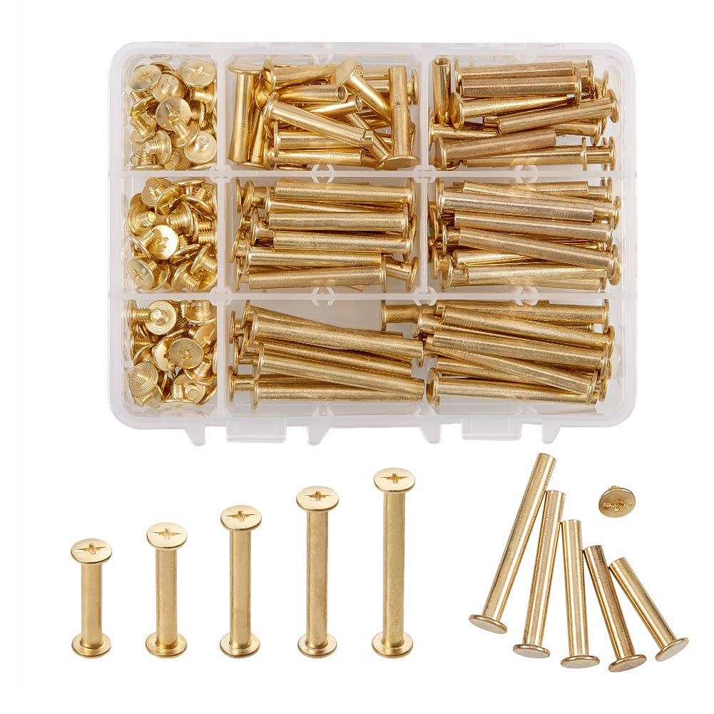 INCREWAY 5mm X 25/30/35/40/45mm Copper Plated Binding Chicago Screw Posts Barrel Nuts Docking Rivets Brass Tone 100pcs