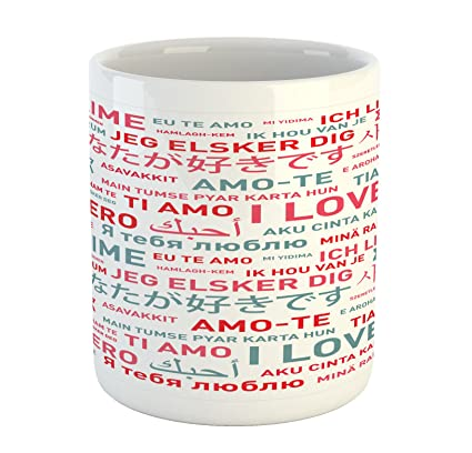 Amazon.com: Ambesonne Love Mug, Emotional Messages in ...
