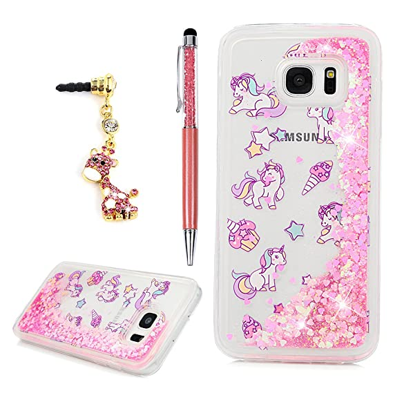 hot sale online 137f9 2304e for Samsung Galaxy S7 Edge Case, Flowing Liquid 3D Glitter TPU Silicone  Quicksand Case Floating Moving Bling Hearts Sparkly Print Clear Shockproof  ...