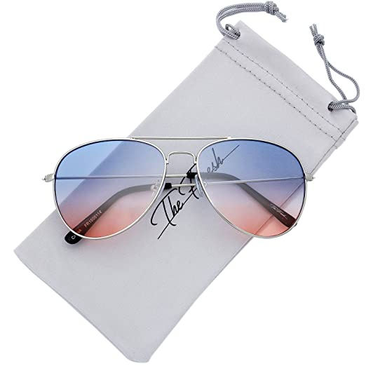 1f423306b5fa0 The Fresh Classic Large Metal Frame Oceanic Color Lens Aviator Sunglasses  with Gift Box (Silver