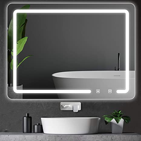 Amazon Com Rottogoon 32x24 Inch Led Lighted Bathroom Mirror Wall Mounted Vanity Mirror With Light Color Adjustable Stepless Dimming Light Anti Fog And Memory Function For Horizontal And Vertical Hanging Home Kitchen