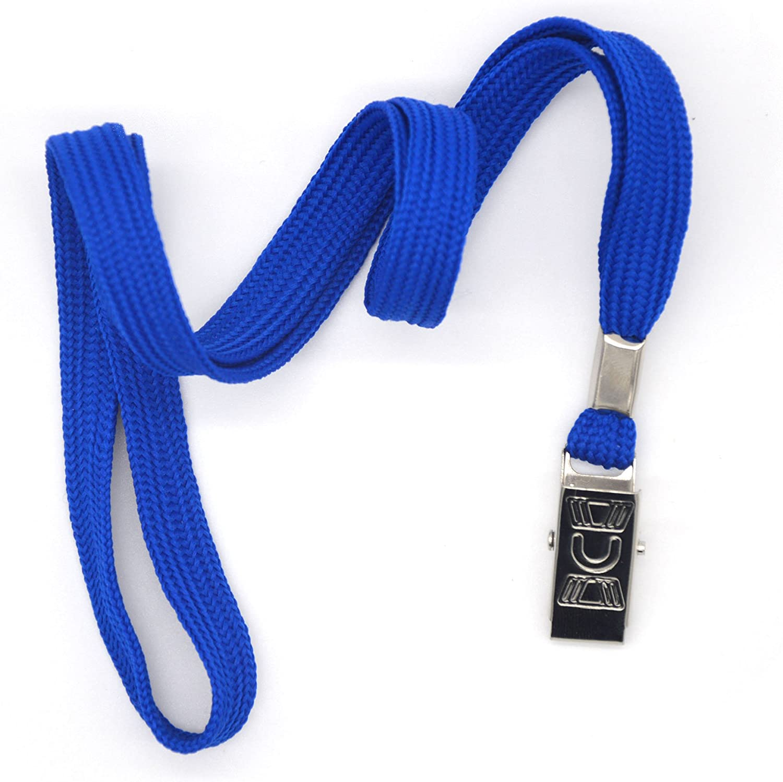 Bird Fiy/® Lot de 50 Coton Cordon Bulldog Clip 91 cm plat tress/é cou tour de cou pour carte didentit/é Cartes//badges bleu