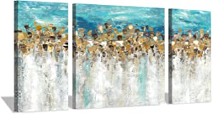 "Gold Foil Canvas Wall Art: Abstract and Modern Painting Blue and Gray Artwork for Living Room (12""x24""x2 Panels+24""x24""x1 Panel)"
