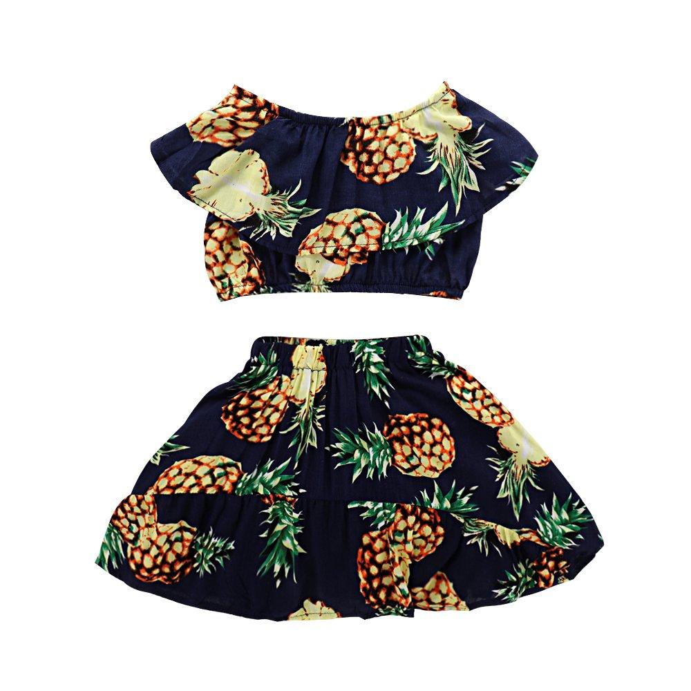 Seaby Baby Girls Pineapple Print Top and High Waist Skirt Two-Piece Set (120(3-4T), Dark Blue)