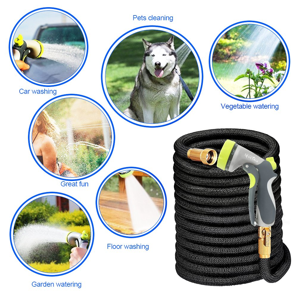 lifecolor Expanding Garden Hose, 100ft Expandable Water Hose with Double Latex Core, Solid Brass Connector and Extra Strength Fabric Flexible Spray Hose with 8 Function Nozzle by lifecolor (Image #6)