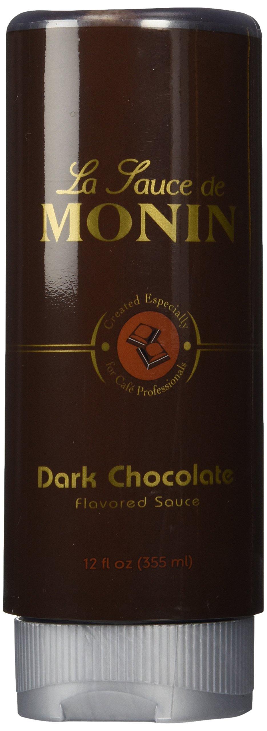 Monin Gourmet Dark Chocolate Sauce, 12 oz Squeeze Bottle