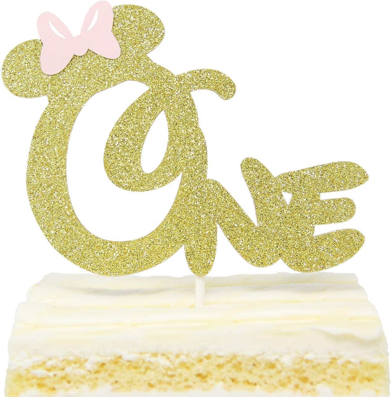Marvelous First 1St One Year Birthday Cake Topper Gold Glitter Minnie Funny Birthday Cards Online Kookostrdamsfinfo