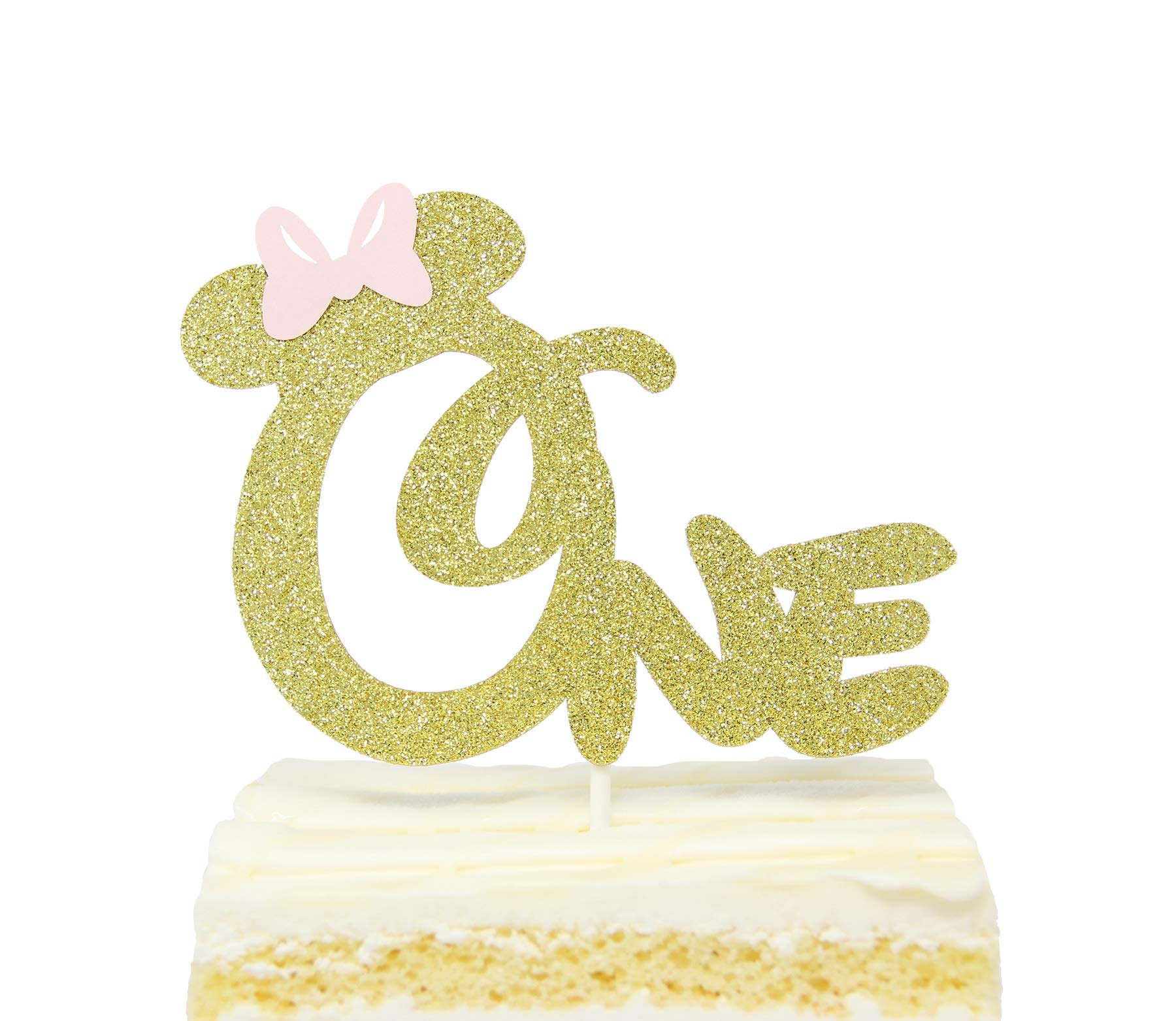 Marvelous First 1St One Year Birthday Cake Topper Gold Glitter Minnie Funny Birthday Cards Online Inifodamsfinfo