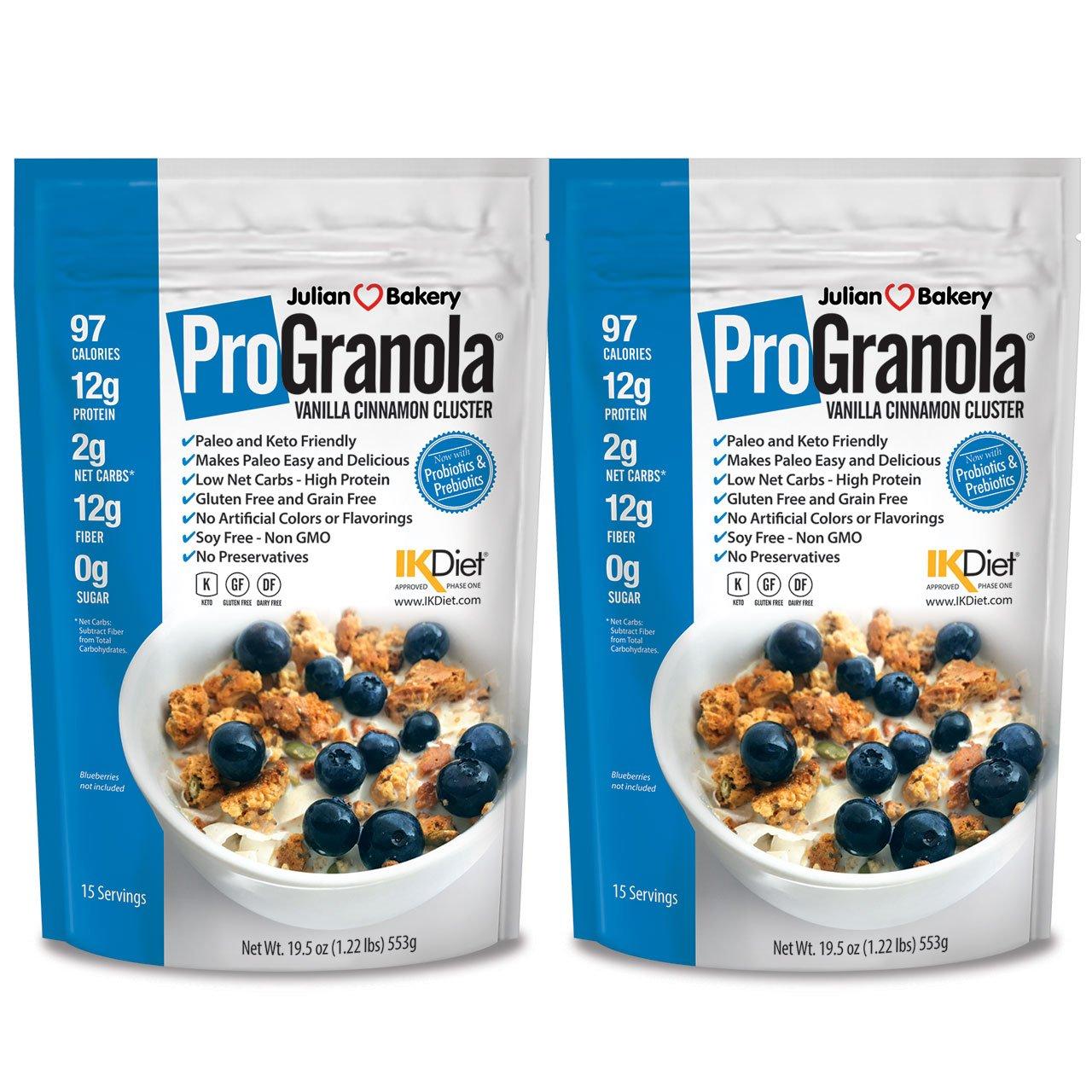 Julian Bakery ProGranola Cereal | Vanilla Cinnamon | 12g Protein | Paleo | 2 Net Carbs | Gluten-Free | Grain-Free | 2 Pack