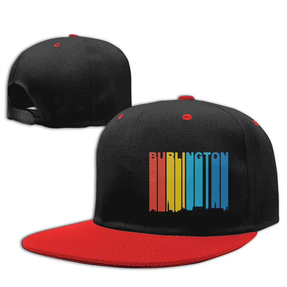 Men Womens Punk Rock Cap Retro 1970s Style Burlington Vermont Skyline Printed Hip-Hop Baseball Caps