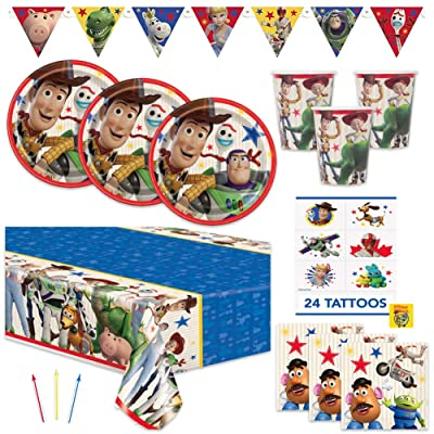 Toy Story 4 Theme Birthday Party Supplies Set - Serves 16 Guests - Includes Banner Decoration, Tablecover, Plates, Napkin, Cups, Tattoos and Candles: Toys & Games