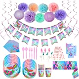 Decorações de festa da sereia, kit de suprimentos para festa de feliz aniversário incluem bandeira sereia, pom poms de…