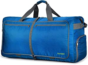 Kundeli 120L Extra Large Travel Duffel Bag, Lightweight Packable Luggage Duffle Bag for Men Women, Waterproof Camping Bags 6 Color Choices (Light Blue)