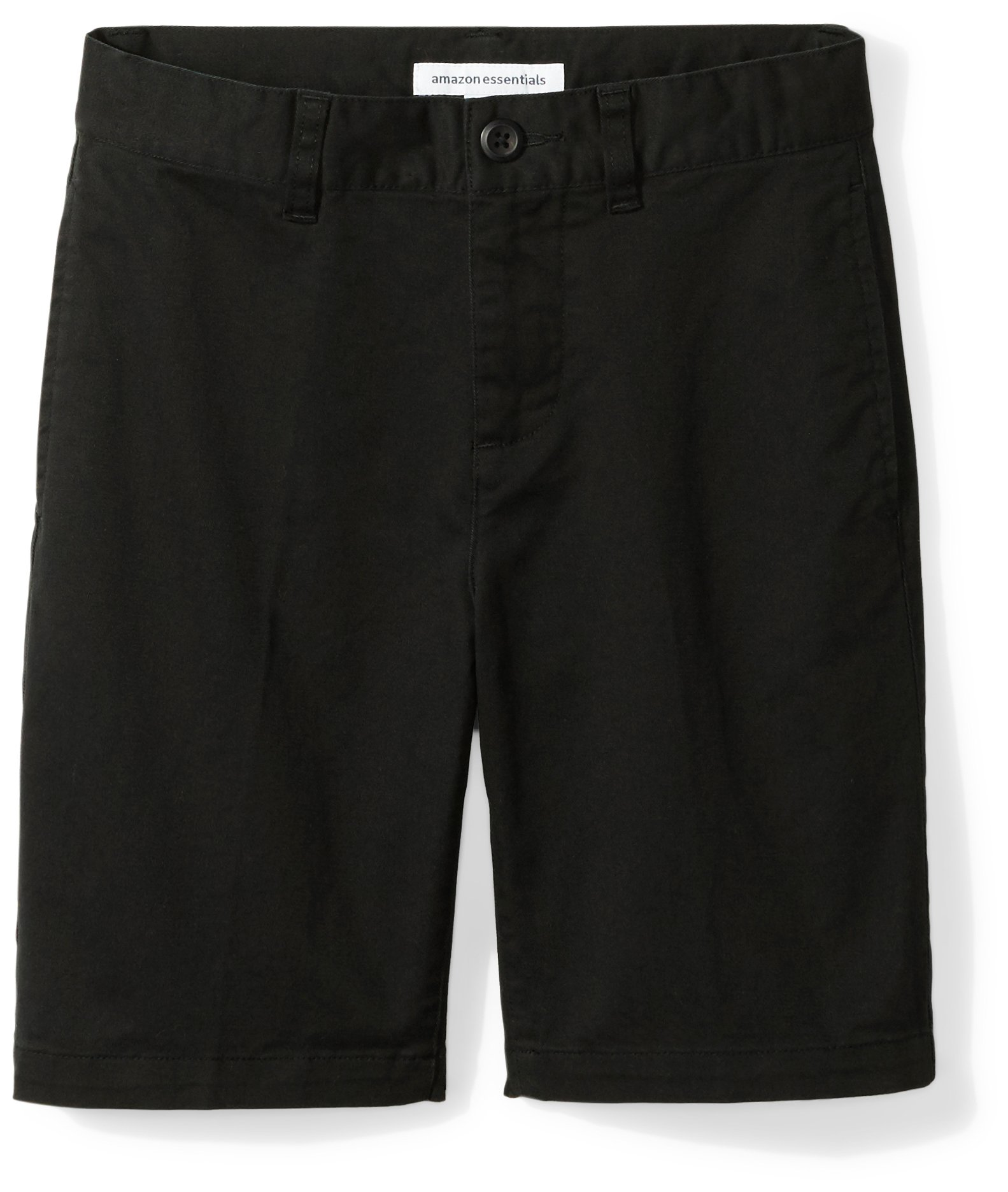 Amazon Essentials Boys' Flat Front Uniform Chino Short, Black,12