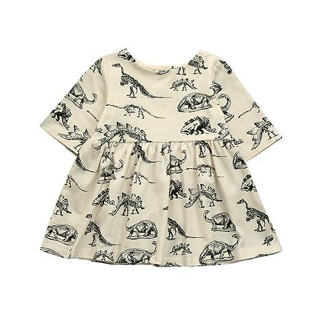 feiXIANG Vestido de niña Vestido de bebé en Mangas Dinosaurio de Dibujos Animados Vestido de Vestir