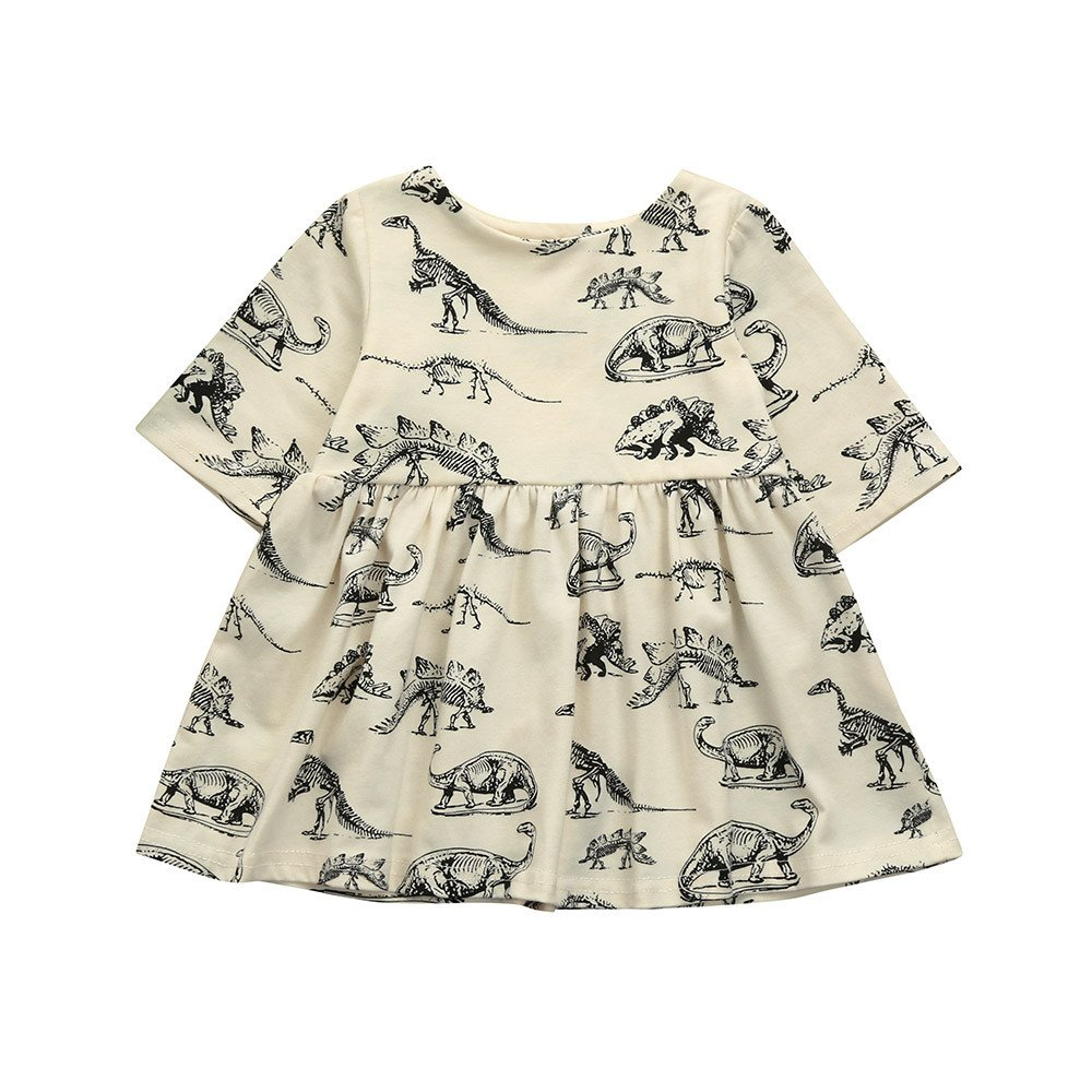 Yihaojia Girls Dress Toddler Girl Clothes Infant Short Sleeve Floral Print Swing Dresses Outfits (Size:12M, Beige)