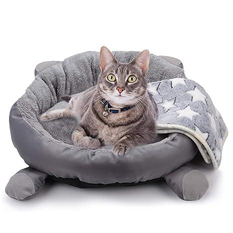 Legendog 1018/5000 Cama para Gatos, Cama para Gatito Gris/Cama para Dormir con Manta para Gatos/cálidas y Suaves Camas para Mascotas para Gatos ...
