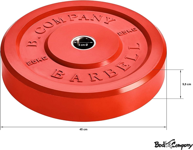 60-120 kg 10-25 kg Bad Company Olympia Vollgummi Hantelscheiben mit Farb-Code I Gummi Gewichtsscheiben 50//51 mm I Paarweise oder als Set