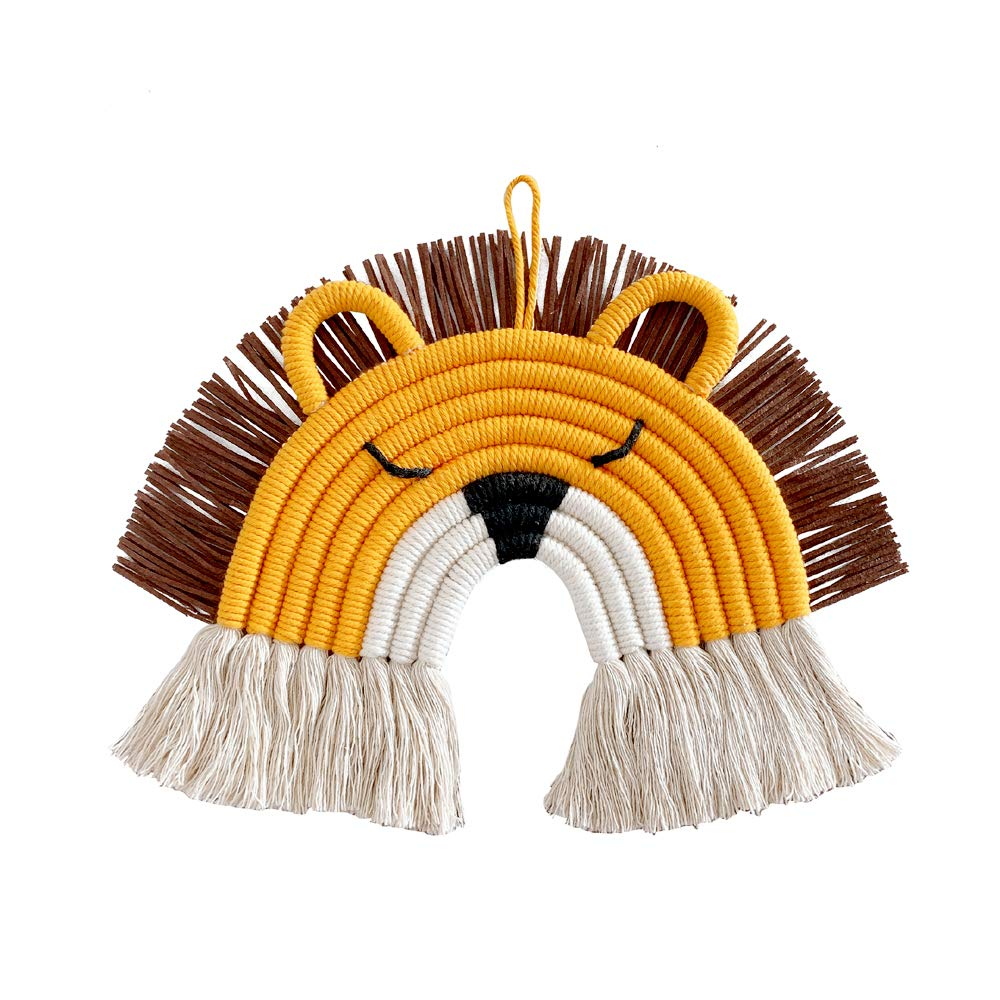 ZOONAI Deer Lion Wall Décor Handmade Weaving Ornament Modern Home Decoration Accessories Hanging Pendant for Party Baby Shower Bedroom Nursery Baby Kids Rooms (Lion)