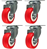 4 Pack Caster Wheels Swivel Plate Stem Break Casters On Red Polyurethane Wheels 880 Lbs (2 inch Plate)
