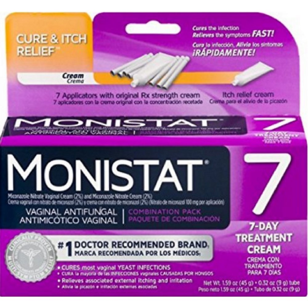 MONISTAT Vaginal Antifungal 7-Day Treatment Cream, Cure & Itch Relief (Pack of 2) by Monistat