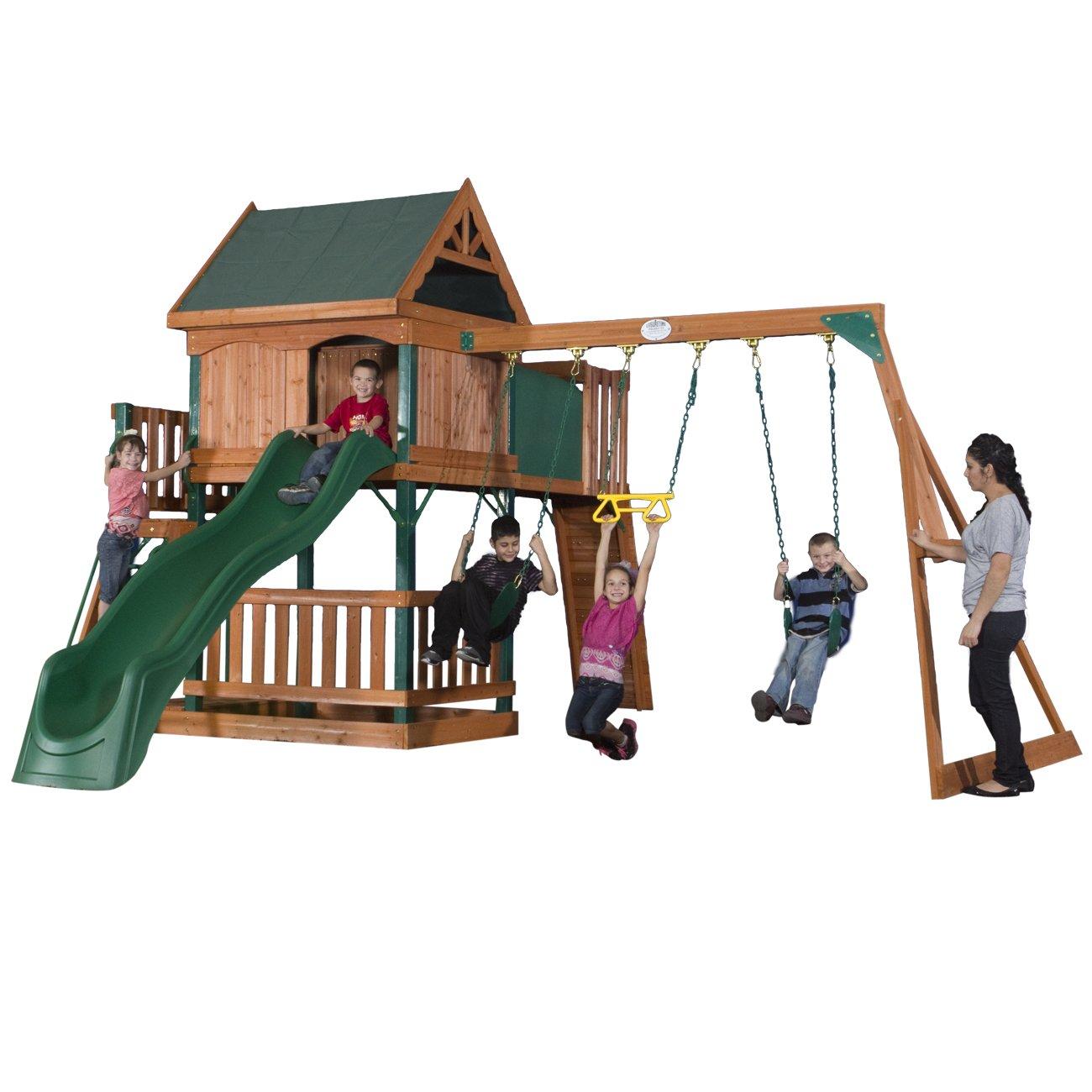 amazon com backyard discovery hawkeye wood swing set garden