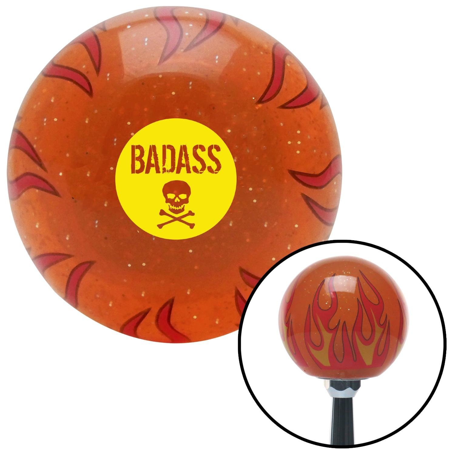 Yellow Badass Badge Orange Flame Metal Flake with M16 x 1.5 Insert American Shifter 299246 Shift Knob