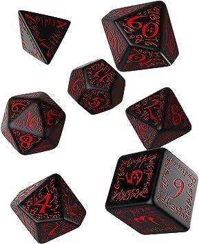 Q-Workshop Polyhedral 7-Die Set: Carved Elven Elvish Dice Set (Black with Red)