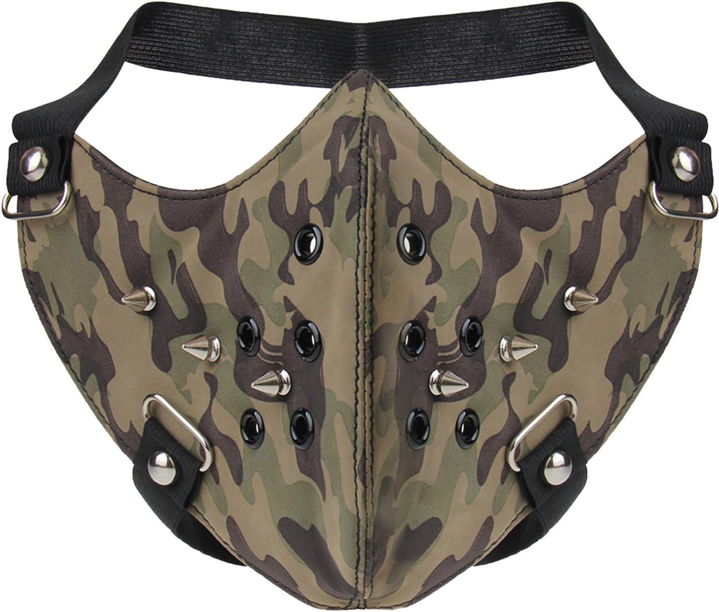 AIEOE - Máscara de Cuero de Punk para Motocicletas Locomotora Mascarillas de Gótico de Resistente al Polvo a Prueba de Viento Máscaras Única para Cosplay Disfraces Adorno Camuflaje - 24 * 15cm: