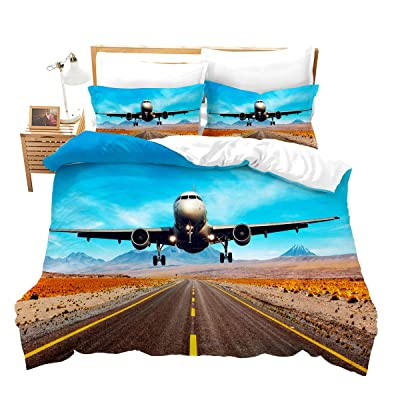Feelyou Boys Duvet Cover Set Full Size for Kids Children Teens Aviation Aircraft Runway Bedding Set 3D Airplane Comforter Cover with 2 Pillowcases Ultra Soft Microfiber Zipper 3 Pcs: Home & Kitchen