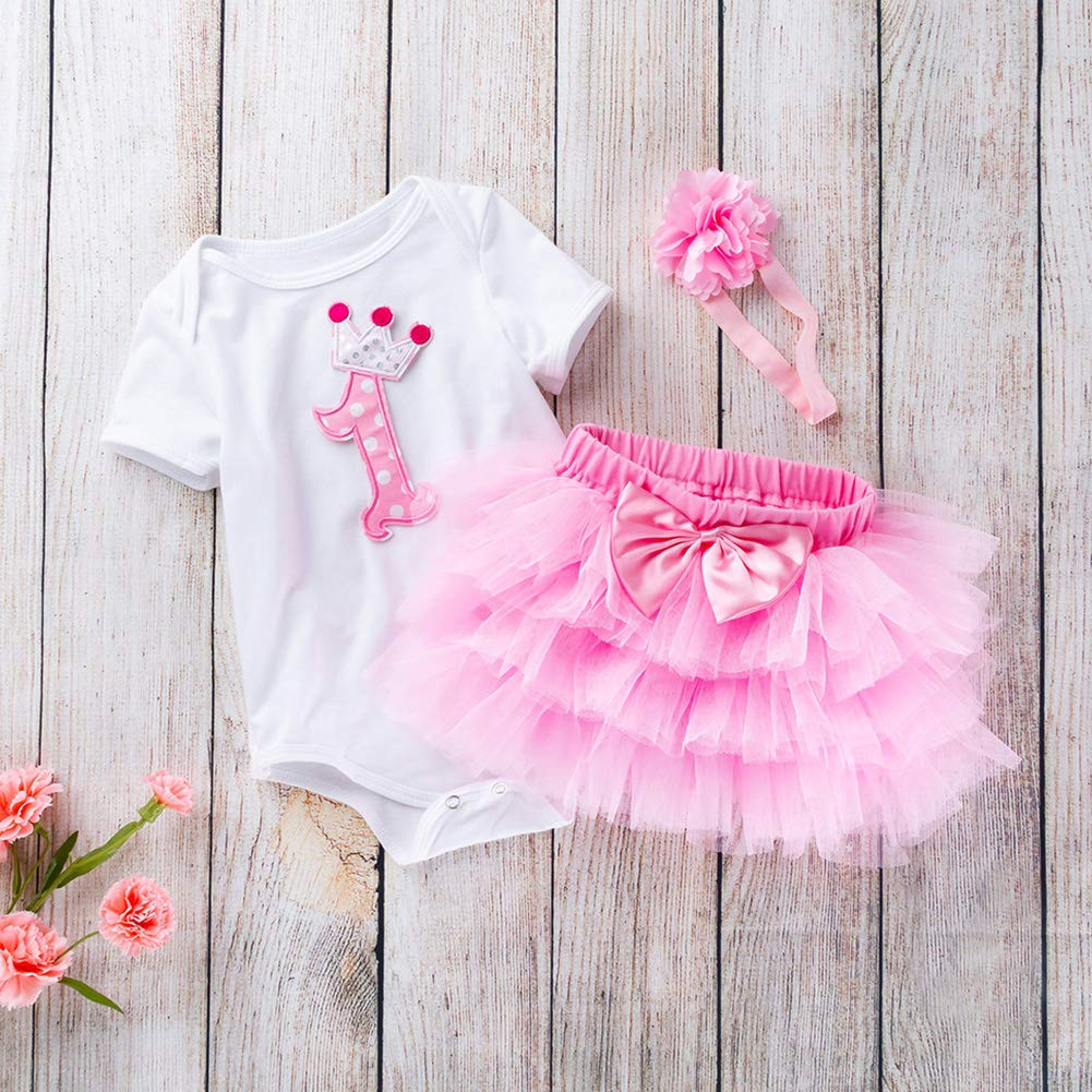 Baby Girl Number 1 Short Sleeves Jumpsuit Tutu Skirt Sunsuit Outfit with Headband Playwear Outfit XL Pink 3Pcs