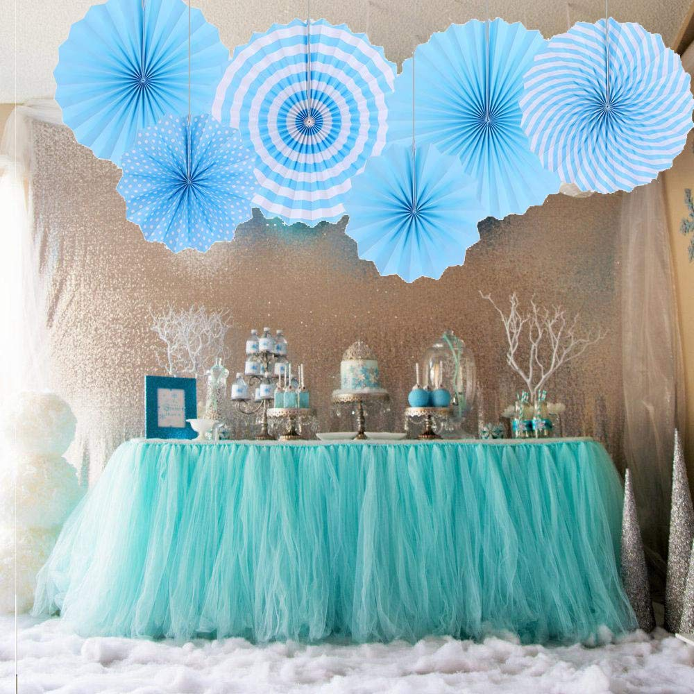 Blue Round Pattern Hanging Paper Garlands Decoration for Wedding Birthday Party Baby Showers Graduation Events Accessories Set of 6 Paper Fans Party Decorations Set