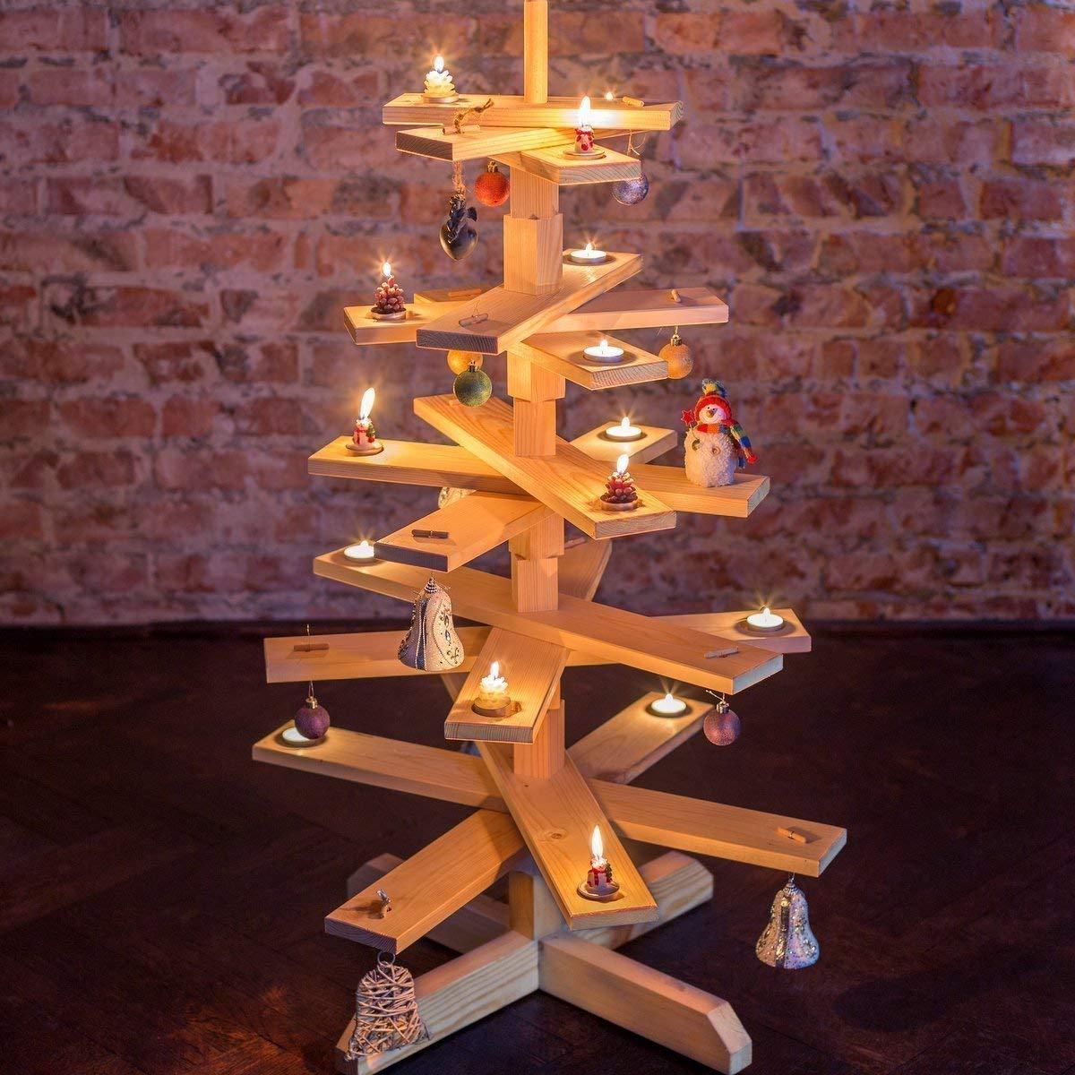 unbehandelte Kiefer H/öhe: 90cm das Original-BestLoft/® Weihnachtsbaum Tannenbaum aus Holz