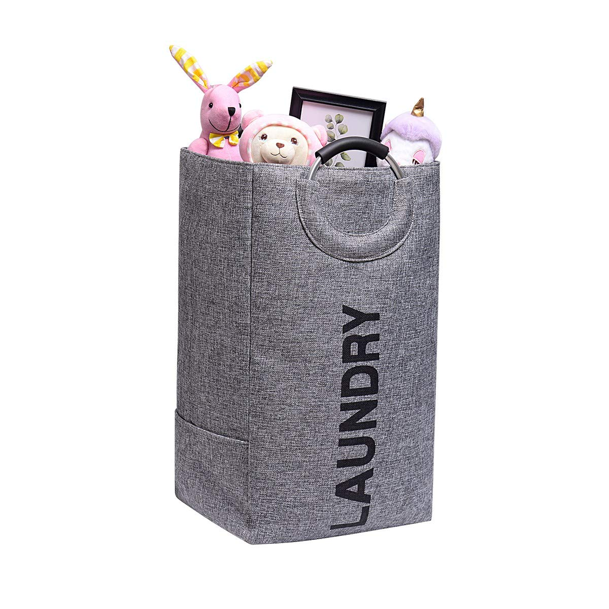 Home.1986 Collapsible Laundry Storage Basket 15x11.4x26 Large Gray Laundry Hamper Bag with Handle for Baby or Adult Dirty Clothes, Towel, Sheet, Washing