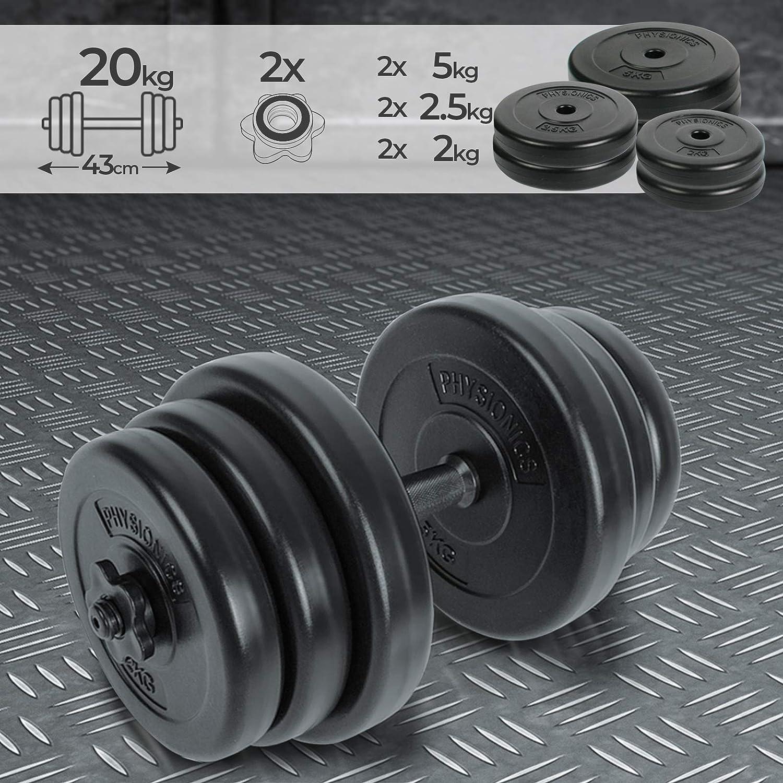 Physionics/® Manubrio con Dischi Pesi di plastica 20 kg per Fitness Palestra Allenamento