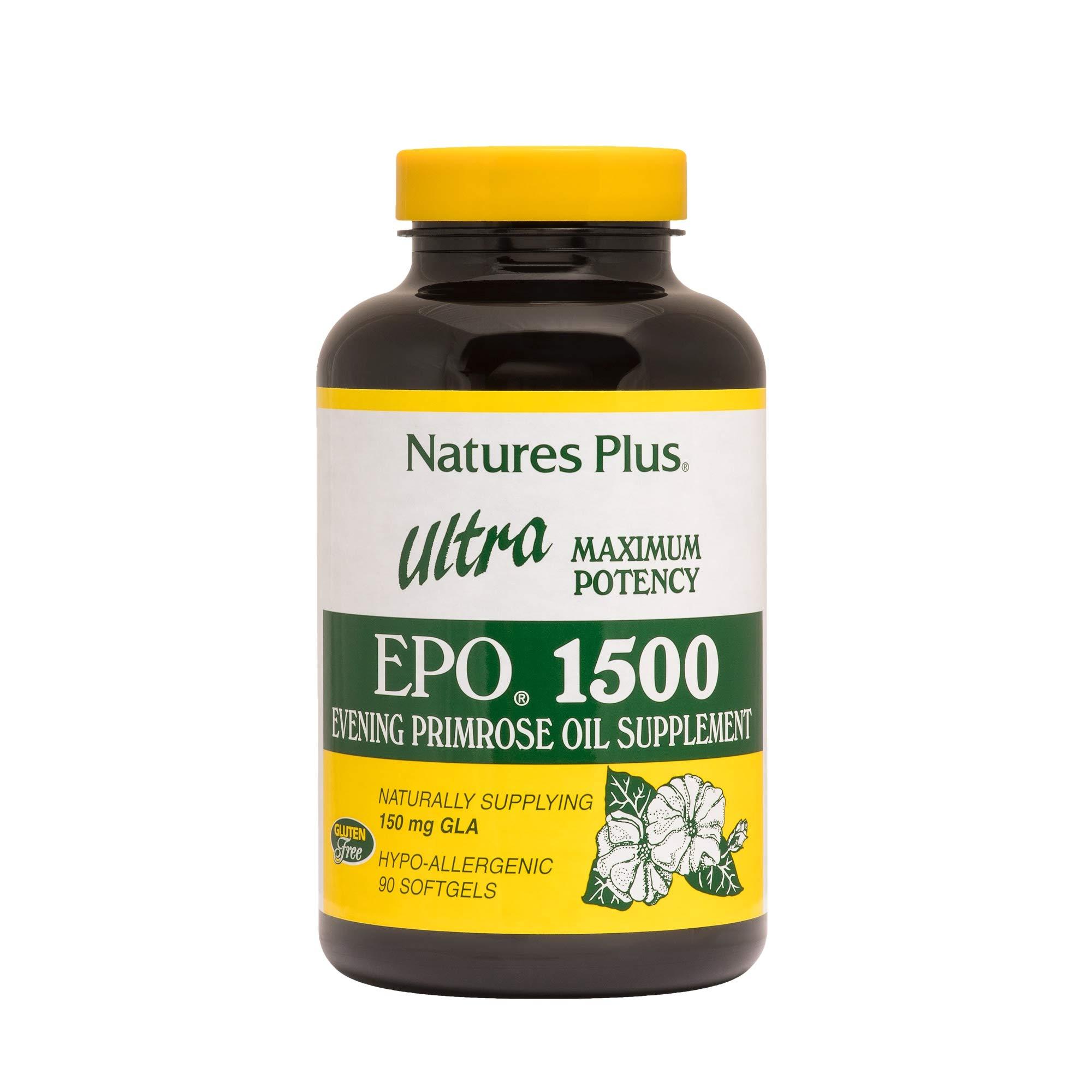 NaturesPlus Ultra EPO 1500-1500 mg Evening Primrose Oil, 90 Softgels - Hormone Balance Supplement, Promotes Healthy, Clear Skin, Anti-Aging, Antioxidant - Gluten-Free - 90 Servings