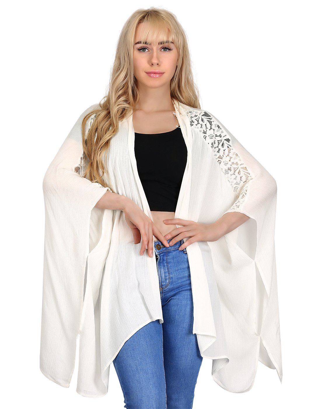 HDE Women's Plus Size Open Front Kimono Cardigan Loose Lace Sleeves Blouse Top (Cream, 3X)