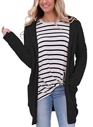Dokotoo Womens Casual Open Front Long Sleeve Cardigan Sweater with ...