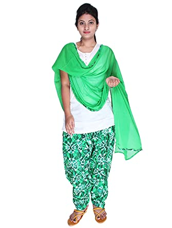 76623a758f Womens Cottage Women's Forest Green Shibori Printed Cotton Semi Patiala  Salwar & Matching Chiffon Dupatta With Lace: Amazon.in: Clothing &  Accessories