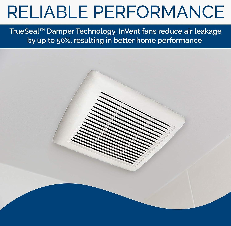 Ceiling Room-Side Installation Bathroom Exhaust Fan Broan InVent Series Single-Speed Fan ENERGY STAR Certified 0.8 Sones 80 CFM
