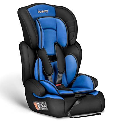 2689bb4f3 Besrey Car Seat Children Group 1 2 3 Car Booster Fit from 9 Months-12 Years  - Black and Blue  Amazon.co.uk  Baby