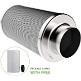 """VIVOSUN 6 Inch Air Carbon Filter Odor Control with Australia Virgin Charcoal for Inline Fan, Grow Tent Odor Scrubber, Pre-Filter Included, Reversible Flange 6""""x 18"""""""