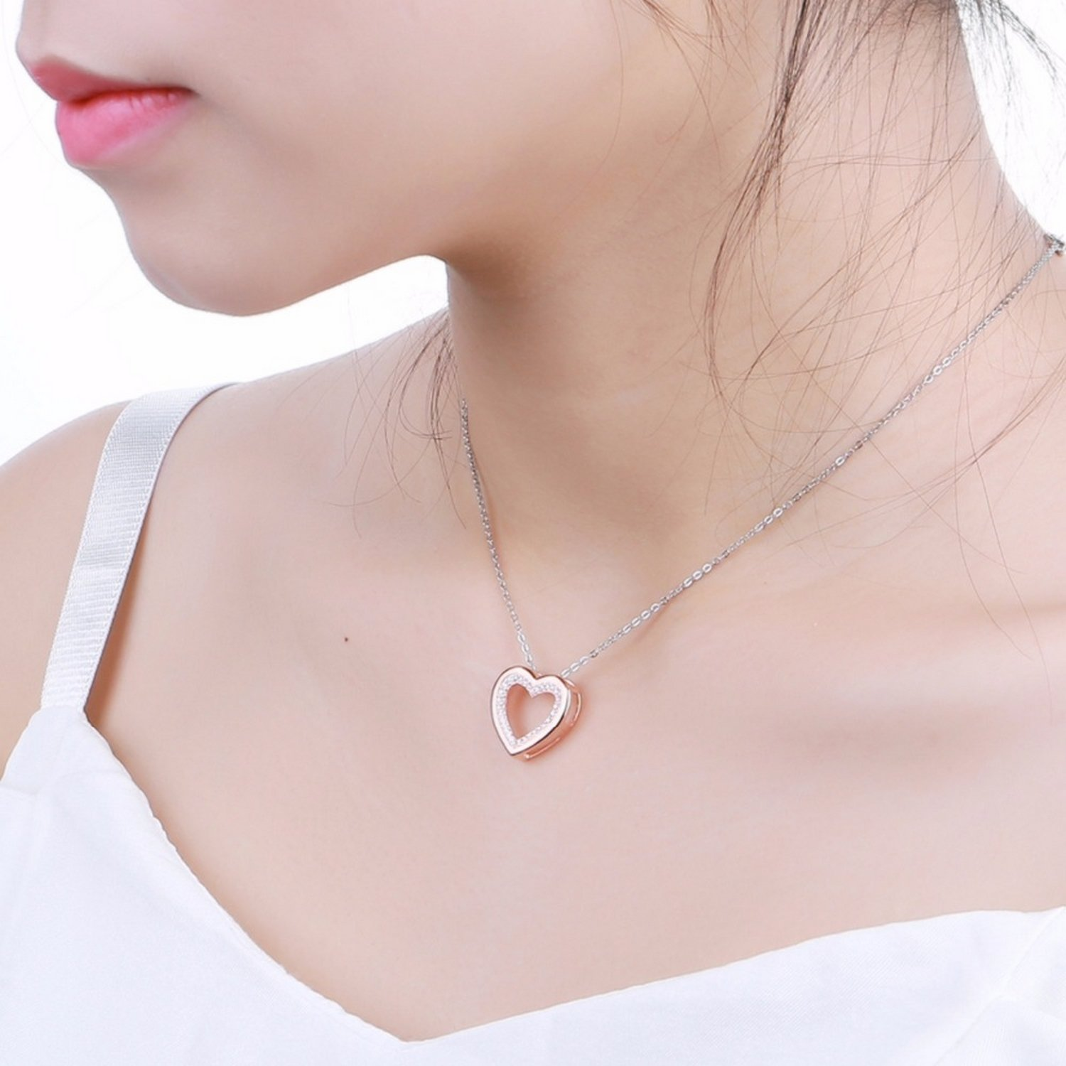 MMC Heart Valentines-Shaped Silver Pendants Necklaces