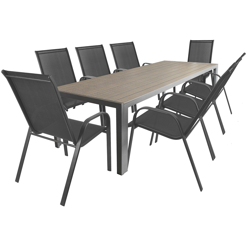 Gartengarnitur Aluminium Gartentisch Mit Polywood Tischplatte 205x90cm + Stapelbare  Gartenstühle Stapelstühle Mit Textilenbespannung Terrassenmöbel ...